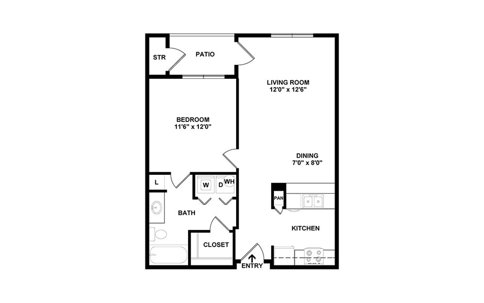 2D plan of 1 bed 1 bath apartment floor plan with 697 square feet