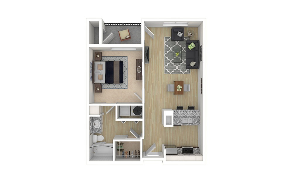 1 bed 1 bath apartment floor plan with 697 square feet