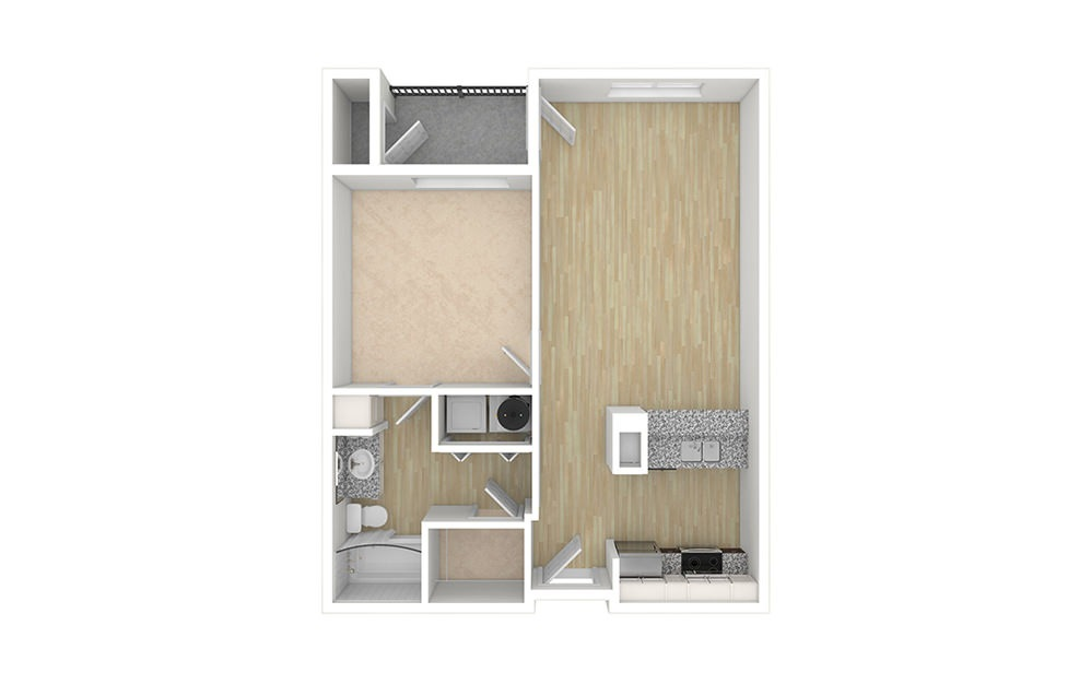 1 bed 1 bath apartment floor plan with 697 square feet with no furniture