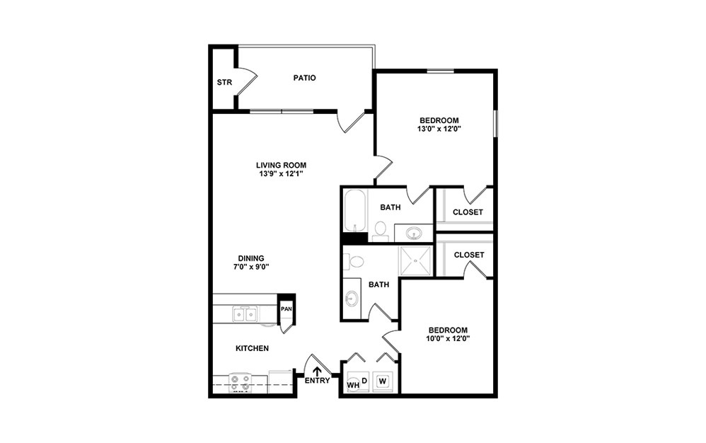 Lorient - 2 bedroom floorplan layout with 2 baths and 990 square feet. (2D)