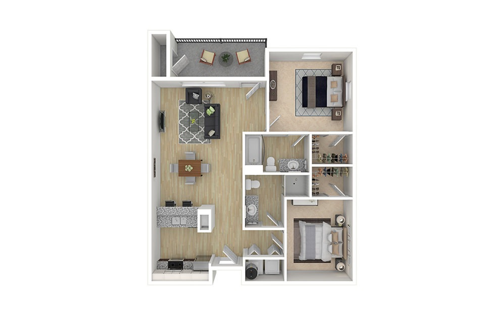 2 bed 2 bath apartment floor plan with 990 square feet