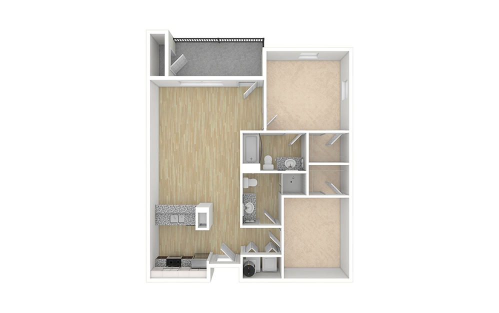 2 bed 2 bath apartment floor plan without furniture